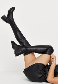 MISSGUIDED black jagged sole heeled over the knee boots ~ chunky heel boots