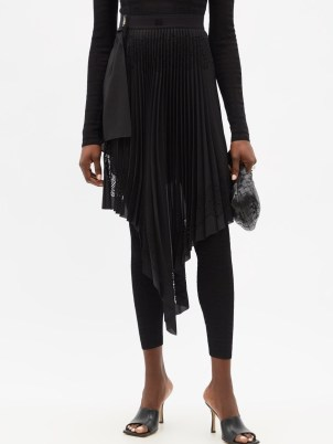 GIVENCHY Laser-perforated asymmetric pleated chiffon skirt ~ chic black front draped skirts - flipped