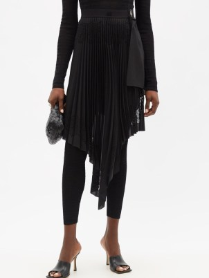GIVENCHY Laser-perforated asymmetric pleated chiffon skirt ~ chic black front draped skirts