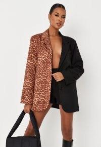 MISSGUIDED black leopard print colourblock oversized blazer ~ glamorous animal spliced jackets ~ womens on-trend blazers