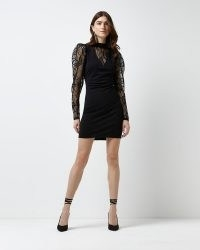 RIVER ISLAND Black long sleeve lace bodycon dress ~ semi sheer LBD ~ puff sleeve party dresses