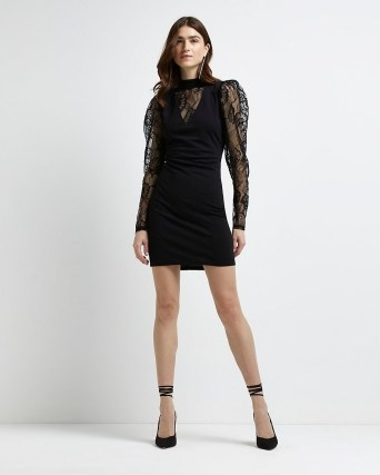RIVER ISLAND Black long sleeve lace bodycon dress ~ semi sheer LBD ~ puff sleeve party dresses - flipped