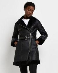 RIVER ISLAND Black longline belted aviator ~ womens zip detail winter coats