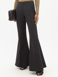 STELLA MCCARTNEY Mona high-rise wool-blend flared trousers in black ~ cool retro flares ~ womens vintage inspired fashion