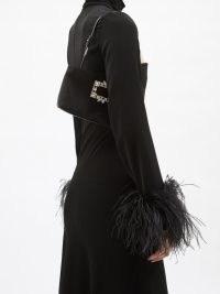 ROGER VIVIER Nightlily crystal-buckle black satin shoulder bag / glamorous evening bags / occasion handbags embellished with crystals