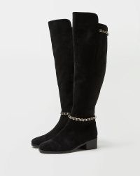 RIVER ISLAND BLACK OVER THE KNEE BOOTS ~ chain detail long boots
