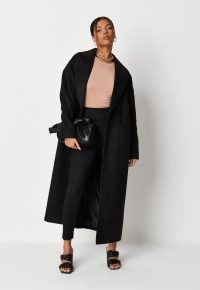 MISSGUIDED black oversized formal coat ~ on trend winter outerwear ~ relaxed fit drop shoulder winter coats