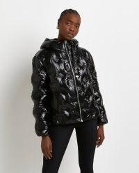 RIVER ISLAND Black RI monogram embossed puffer coat ~ high shine padded coats ~ womens patent finish winter jackets