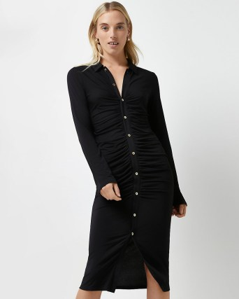 River Island Black ruched bodycon dress – long sleeve gathered detail dresses - flipped