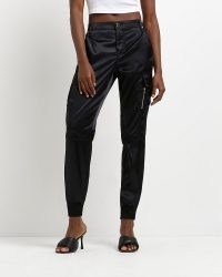 RIVER ISLAND BLACK SATIN CARGO TROUSERS ~ womens cuffed sports luxe pants