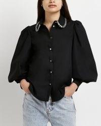 River Island BLACK SEQUIN COLLAR SHIRT | long puff sleeve shirts | embellished blouses