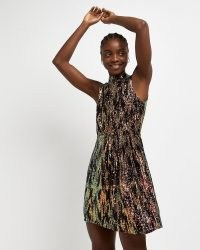 River Island BLACK SEQUIN MINI DRESS / sleeveless sequinned party dresses