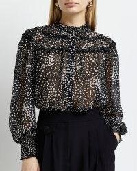 RIVER ISLAND BLACK SPOT PRINT FRILL BLOUSE / romantic style frilled blouses