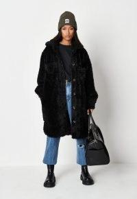 MISSGUIDED black teddy borg longline shacket ~ glamorous faux fur shackets