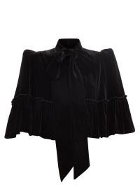 THE VAMPIRE'S WIFE The Mini Crusader flounced-velvet capelet – structured puff shoulder tie at neck capelets – black evening occasion capes