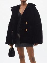 TOM FORD Velvet down peacoat in black – womens luxury short coats – women's luxe winter jackets