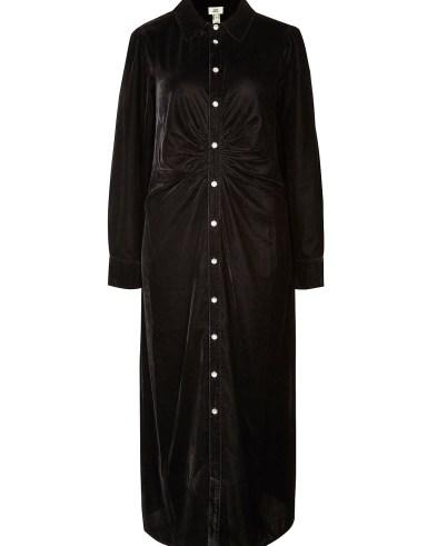 River Island Black velvet ruched midi dress – gathered detail shirt dresses - flipped
