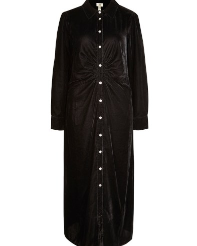 River Island Black velvet ruched midi dress – gathered detail shirt dresses