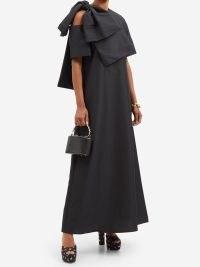 BERNADETTE Winona bow-trimmed cutout taffeta A-line dress – elegant cut out detail occasion dresses – chic black occasionwear – evening statement bow fashion