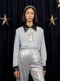sister jane WRITTEN IN THE STARS Nova Sequin Shirt Baby Blue and Black / glittering sequinned shirts