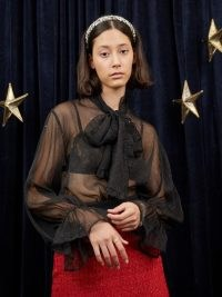 sister jane WRITTEN IN THE STARS Night Sky Sparkle Bow Blouse Black – sheer sparkling pussy bow blouses – celestail inspired fashion