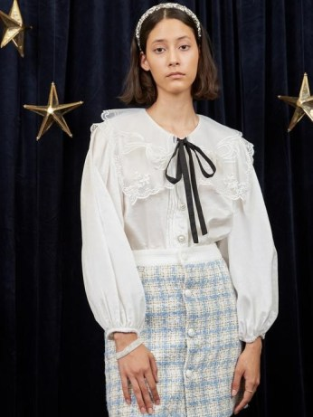 sister jane WRITTEN IN THE STARS Eris Puff Sleeve Shirt in Ivory – puff sleeve embroidered organza oversized collar shirts – feminine vintage style blouses - flipped