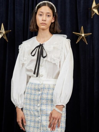 sister jane WRITTEN IN THE STARS Eris Puff Sleeve Shirt in Ivory – puff sleeve embroidered organza oversized collar shirts – feminine vintage style blouses