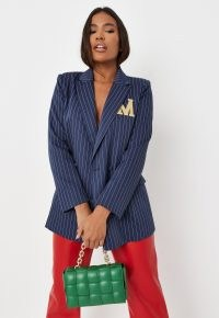 MISSGUIDED blue co ord m embroidered pinstripe tailored blazer – womens striped blazers – women's fashionable jackets