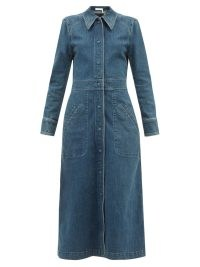 CHLOÉ Long-sleeved denim dress | blue vintage style shirt dresses