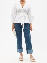 ERDEM Nathaniel floral-print turn-up cuff jeans ~ womens blue printed denim fashion