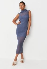MISSGUIDED blue sheer high neck crinkle midaxi dress ~ chic sleeveless semi sheer dresses ~ elegant on-trend going out fashion