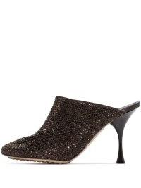 Bottega Veneta Dot Sock 90mm brown embellished mules ~ shiny gem covered stiletto heel mule ~ glittering heels