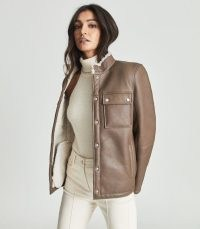 REISS BRIE SHEARLING OVERSHIRT BROWN ~ women's luxe overshirts ~ womens luxury shackets