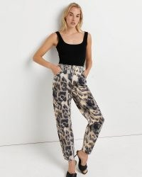 River Island Brown animal print high waisted tapered jeans – womens printed denim fashion