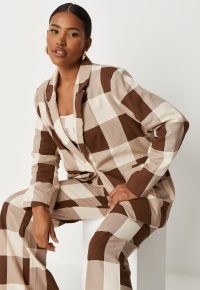 MISSGUIDED brown check oversized tailored blazer ~ womens on-trend blazers ~ checked jackets