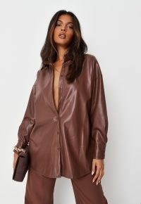 MISSGUIDED brown faux leather shacket – luxe style shackets – on-trend shirt jackets – going out fashion