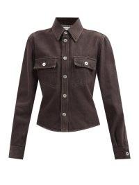BOTTEGA VENETA Flap-pocket denim shirt in brown ~ womens chic casual shirts
