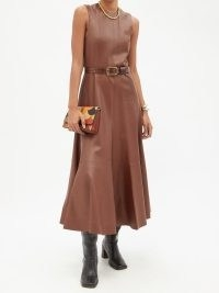 CHLOÉ Flared brown leather midi dress ~ luxe sleeveless fit and flare dresses ~ womens luxury designer fashion