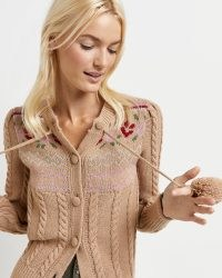 RIVER ISLAND BROWN FLORAL POM POM CARDIGAN ~ vintage style cable knit cardigans ~ womens fashionable knitwear