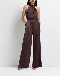 RIVER ISLAND Brown halter neck wide leg belted jumpsuit ~ glamorous halterneck going out jumpsuits ~ evening glamour