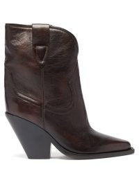 ISABEL MARANT Leyane point-toe brown leather ankle boots ~ womens slanted block heel cowboy boots