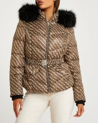 RIVER ILAND BROWN RI MONOGRAM BELTED PUFFER COAT ~ casual luxe style winter coats