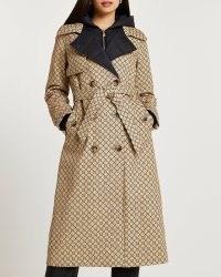 RIVER ISLAND BROWN RI MONOGRAMMED HYBRID TRENCH COAT / chic tie waist logo print coats