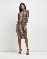 RIVER ISLAND Brown snake print bodycon midi dress ~ ruched bodycon dresses