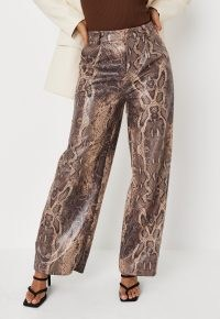 MISSGUIDED brown snake print faux leather extreme wide leg trousers / glamorous reptile print fashion