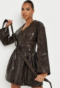 MISSGUIDED brown snake print faux leather wrap front dress / glamorous tie waist dresses / animal prints