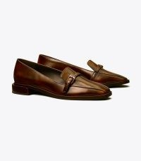 TORY BURCH BUCKLE FLAT LOAFER in Brown ~ chic square toe loafers