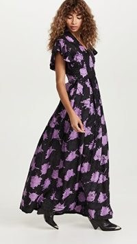 Busayo Dee Dress in Purple / Black ~ romantic rufflle sleeve maxi dresses