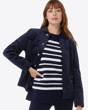 DRAPER JAMES Button Down Jacket in Micro Corduroy Nassau navy – dark blue cord jackets - flipped