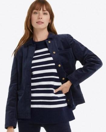 DRAPER JAMES Button Down Jacket in Micro Corduroy Nassau navy – dark blue cord jackets